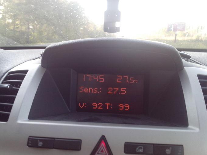 Opel Zafira. на трассе t стабильно около 100С тут скорость 92км/ч температура 99