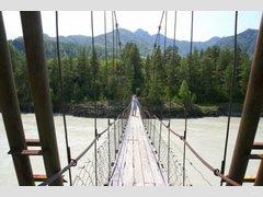 Подвесной пешеходный мост через Катунь (Еланда)