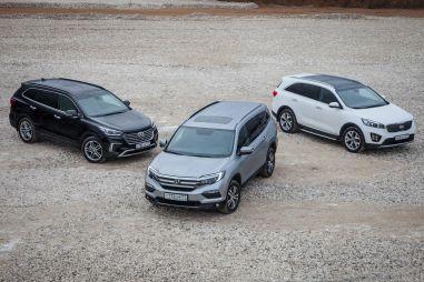 Сравнительный тест Hyundai Grand Santa Fe, Honda Pilot и Kia Sorento Prime. Три оттенка серого