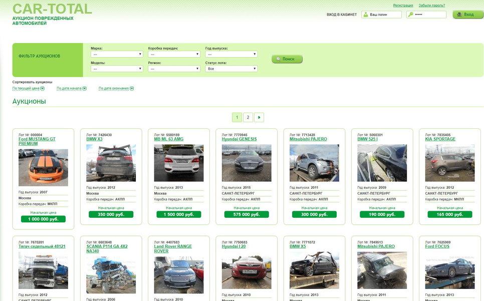 CAR-TOTAL, аукцион поврежденных автомобилей (РЕСО Гарантия)