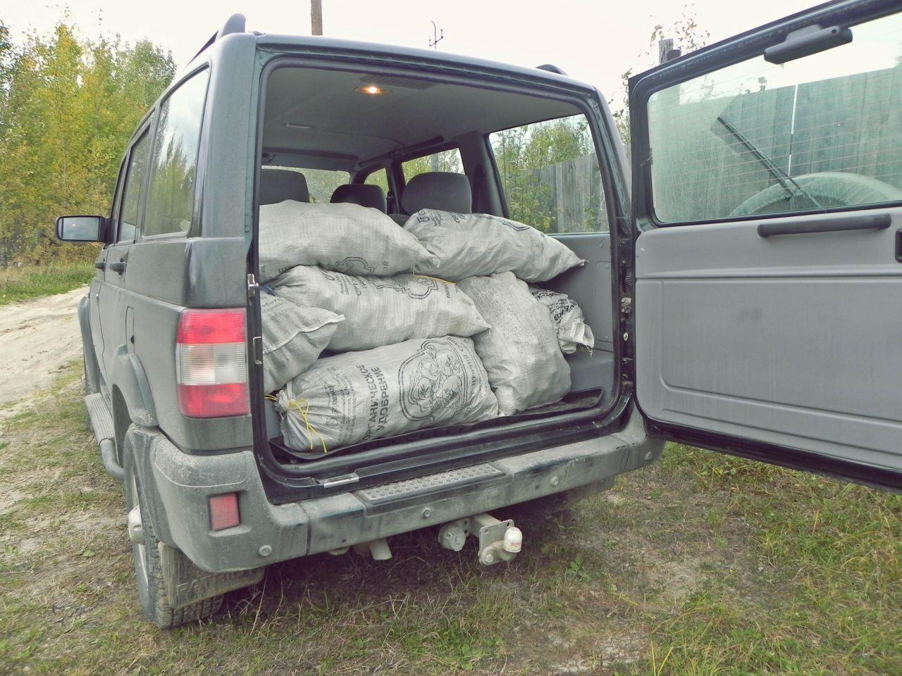 Перевозка урожая - 16 мешков.