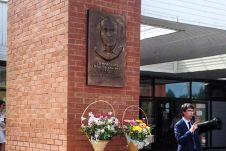Памятная доска установлена на главной проходной Паркового комплекса истории техники имени К. Г. Сахарова