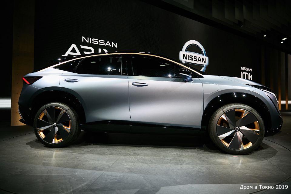 Nissan Ariya. С этого ракурса кажется, что колёса какие-то маленькие на фоне здоровенных арок.