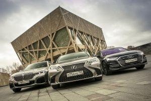 Audi A8 L 55 TFSI, BMW 750d и Lexus LS 500. Представительский класс: справа сзади или за рулем?