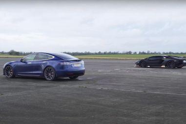 Автобаттл: электрическая Tesla Model S против бензинового Lamborghini Aventador S (ВИДЕО)