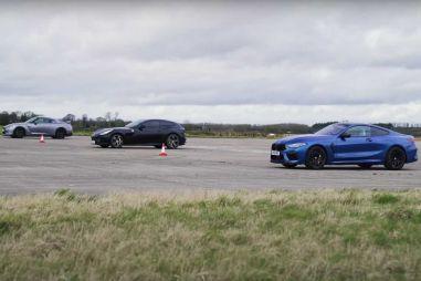 Автобаттл: BMW M8 против Nissan GT-R и Ferrari GTC4 Lusso (ВИДЕО)