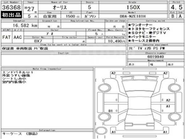 Toyota Auris, 2015 год, 875 000 руб.