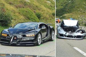 В Швейцарии супердорогой Bugatti столкнулся с просто дорогим Porsche (ФОТО)