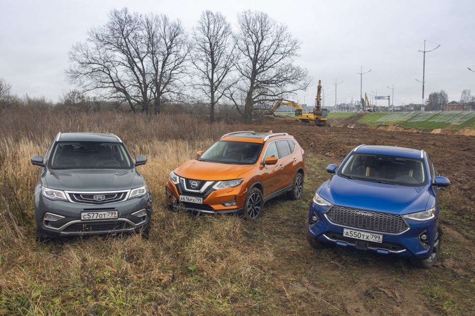 Geely Atlas, Haval F7x и Nissan X-Trail. Два мира — две системы