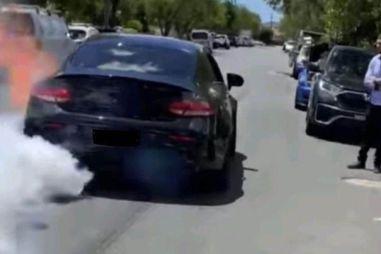 Видео: австралиец во время неудачного «бернаута» сжег Mercedes-AMG C63 S и получил повестку в суд