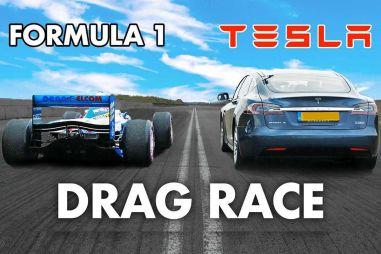 Динамику Tesla Model S сравнили со старым болидом Формулы 1 (ВИДЕО)