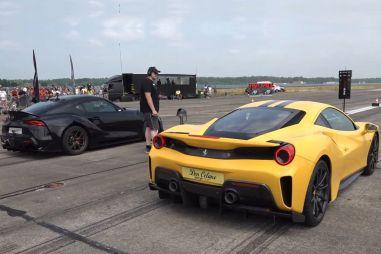 ВИДЕО: Ferrari 488 Pista дает бой 800-сильной Toyota Supra и Lamborghini Urus